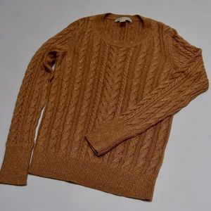 Banana Republic Sweaters - Banana Republic Gold Sparkly Cableknit Sweater XS